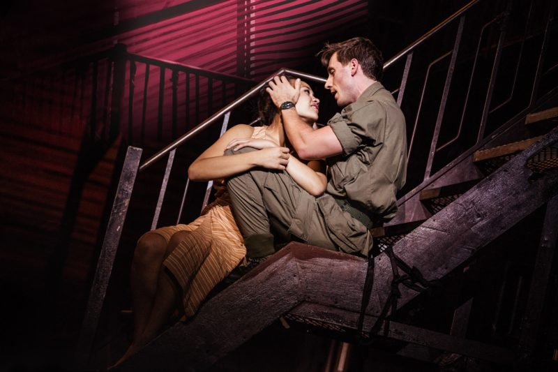 "Emily Bautista as 'Kim' and Anthony Festa as 'Chris' in the North American Tour of MISS SAIGON singing ""Sun and Moon"""