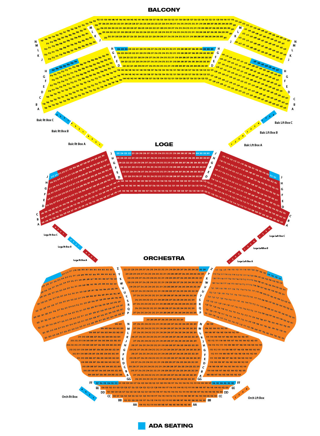Seating chart for Aronoff Center